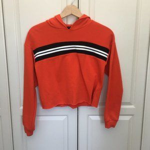 Women's Orange and Black Forever 21 Cropped Hoodie